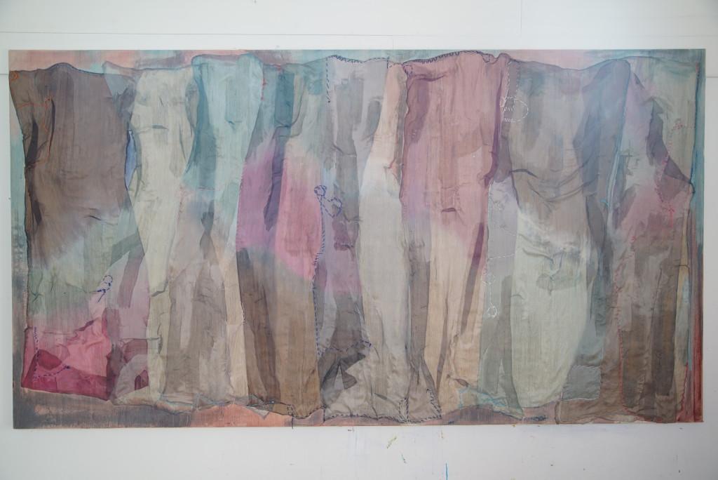 Dusk 2015, 240 x 130 cm, silk on silk, dye acrylic paint, embroidery thread
