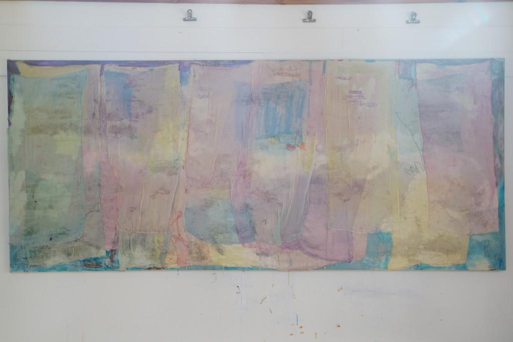 Dawn 2014/2015. 170 x 282 cm. silk on silk , dye, acrylic paint, embroidery thread