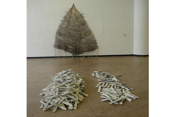 """""""River Stix"""" made of sticks that I collected from the forest and wool that I spun, 3.5 x 2.5 m, 2007"""