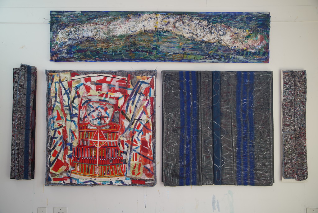 """These images are from the series """"unfolding her"""". They are mixed media on blankets.  The top piece; """"sleep"""" Mixed media on board, ( Hand woven, hand spun yarn, acrylic paint, embroidery thread). 200 x 46 cm  (R46000.00)  Left; """"surfacing""""  mixed media on board, (blanket, acrylic ink, spray paint, acrylic paint, embroidery). 100 x 22 cm  (R11500.00)  Second from left; """"glorious day"""" mixed media on board, (blanket, beads, cloth, acrylic paint, tissue paper, gel.) 100 x 105 cm  (R46000.00)  Third from left; """"inter dreaming"""" mixed media on board, (Blanket, acrylic ink, acrylic paint, candle wax, spray paint, markers). 100 x 108cm  (R46000.00)  Right; """"rest"""" mixed media on board, (blanket, stitching, acrylic paint and ink). 100 x 22 cm  (R11500.00)"""